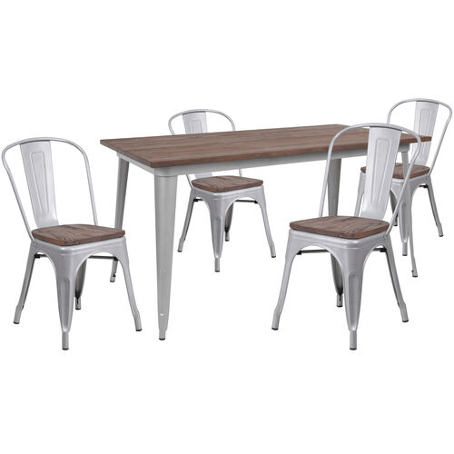 "Our 30.25"" x 60"" Silver Metal Table Set with Wood Top and 4 Stack Chairs is on sale now."