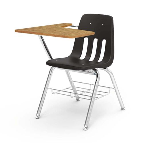 9000 Series Student Combo Desk with Right Handed Medium Oak Laminate Tablet Arm, Chrome Frame, and Black Chair - 20