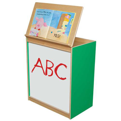 Our Green Apple Big Book Display and Storage with Locking Piano Hinged Top with Marker Board on Front - Assembled - 24