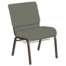 21''W Church Chair in Ravine Thyme Fabric with Book Rack - Gold Vein Frame