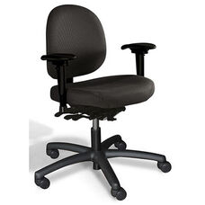 Triton Medium Back Desk Height Cleanroom ESD Chair with 350 lb. Capacity - 6 Way Control - Black Vinyl