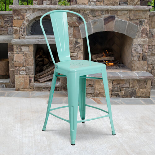 """Our Commercial Grade 24"""" High Mint Green Metal Indoor-Outdoor Counter Height Stool with Back is on sale now."""