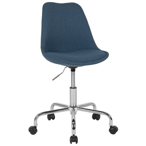 Our Aurora Series Mid-Back Blue Fabric Task Office Chair with Pneumatic Lift and Chrome Base is on sale now.