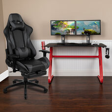 BlackArc Red Gaming Desk with Cup Holder/Headphone Hook & Gray Reclining Gaming Chair with Footrest