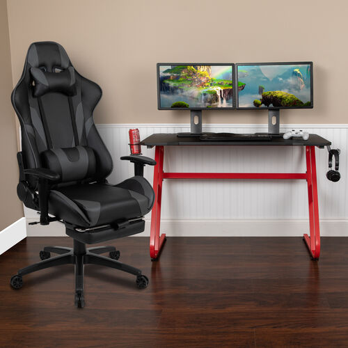 Our BlackArc Red Gaming Desk with Cup Holder/Headphone Hook & Gray Reclining Gaming Chair with Footrest is on sale now.
