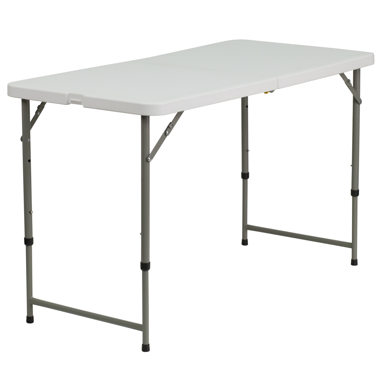 24u0027u0027W X 48u0027u0027L Height Adjustable Granite White Plastic Folding Table