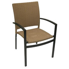 Oviedo Hand Polished Tubular Aluminum Stackable Arm Chair - Cappuccino
