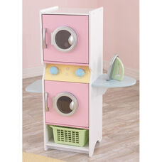 Kids Wooden Make-Believe Washer and Dyer Laundry Play Set - Pastel