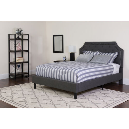 Brighton Full Size Tufted Upholstered Platform Bed in Dark Gray Fabric with Memory Foam Mattress