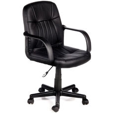 Leather Mid-Back Chair - Black
