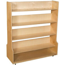 Wooden 4 Shelf Mobile Book Processing Cart - 48