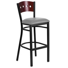 Black Decorative 4 Square Back Metal Restaurant Barstool with Mahogany Wood Back & Custom Upholstered Seat