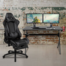 BlackArc Black Gaming Desk and Gray Footrest Reclining Gaming Chair Set with Cup Holder, Headphone Hook & 2 Wire Management Holes