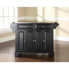 Stainless Steel Top Kitchen Island with LaFayette Style Feet - Black Finish
