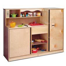 Birch Laminate Preschool Kitchen Combo with Plenty of Storage