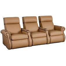 Bradford Three Seater Home Theater - Straight Arm in Top Grain Leather