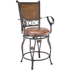 Big and Tall Copper Stamped Back Counter Stool with Arms -Bronze Faux Leather