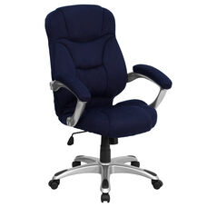 High Back Navy Blue Microfiber Contemporary Executive Swivel Ergonomic Office Chair with Arms