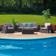 4 Piece Outdoor Faux Rattan Chair, Sofa and Table Set in Chocolate Brown