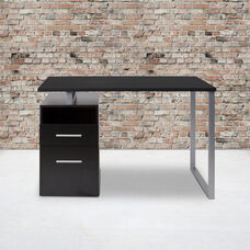 Harwood Dark Ash Wood Grain Finish Computer Desk with Two Drawers and Silver Metal Frame