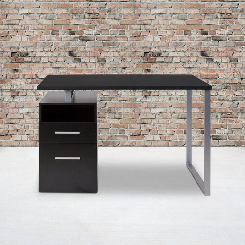 Harwood Desk with Two Drawers and Metal Frame