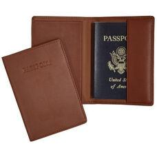 RFID Blocking Passport Jacket with Debossed Word - Top Grain Nappa Leather - Tan