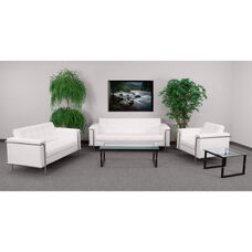 """HERCULES Lesley Series Reception Set in White LeatherSoft with <span style=""""color:#0000CD;"""">Free </span> Tables"""