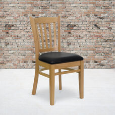 Natural Wood Finished Vertical Slat Back Wooden Restaurant Chair with Black Vinyl Seat