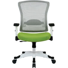 Space Pulsar Managers Office Chair with Mesh Padded Seat - Green with White Frame