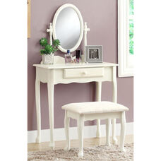 Wooden 2 Piece Vanity Set with Storage Drawer - White