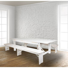 """HERCULES Series 8' x 40"""" Antique Rustic White Folding Farm Table and Two Bench Set"""
