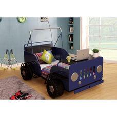 Casper Complete Twin Bed with Desk Shelf - Safari Car - Blue and Black
