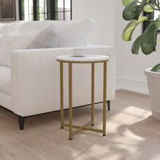 Hampstead Collection End Table - Modern White Marble Finish Accent Table with Crisscross Matte Gold Frame