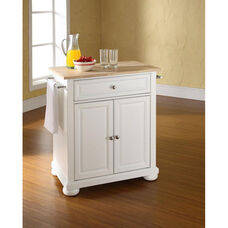 Natural Wood Top Portable Kitchen Island with Alexandria Feet - Maple and White Finish
