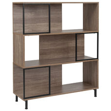 "Paterson Collection 3 Shelf 39.5""W x 45""H Bookcase and Storage Cube in Rustic Wood Grain Finish"