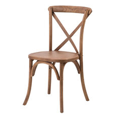 Rustic Sonoma Solid Wood Cross Back Stackable Dining Chair - Antique Fruitwood