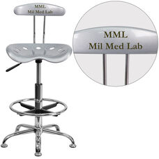 Personalized Vibrant Silver and Chrome Drafting Stool with Tractor Seat