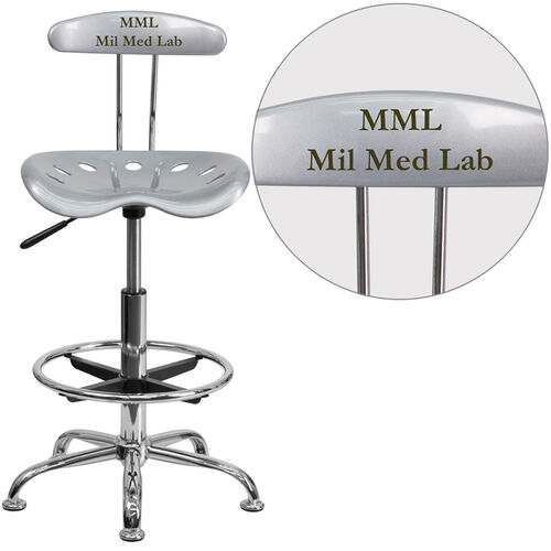 Our Personalized Vibrant Silver and Chrome Drafting Stool with Tractor Seat is on sale now.