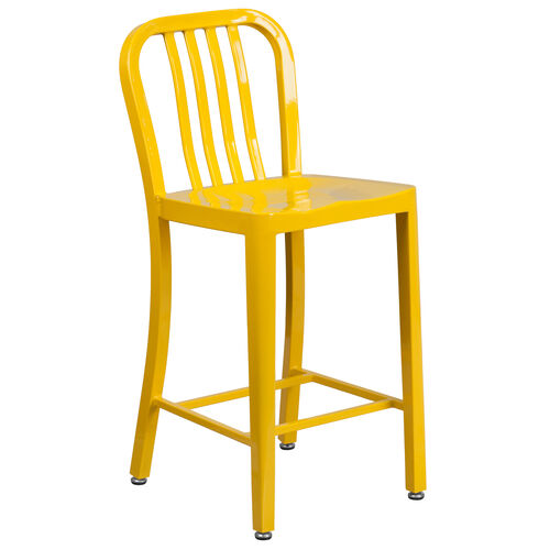 """Our Commercial Grade 24"""" High Yellow Metal Indoor-Outdoor Counter Height Stool with Vertical Slat Back is on sale now."""