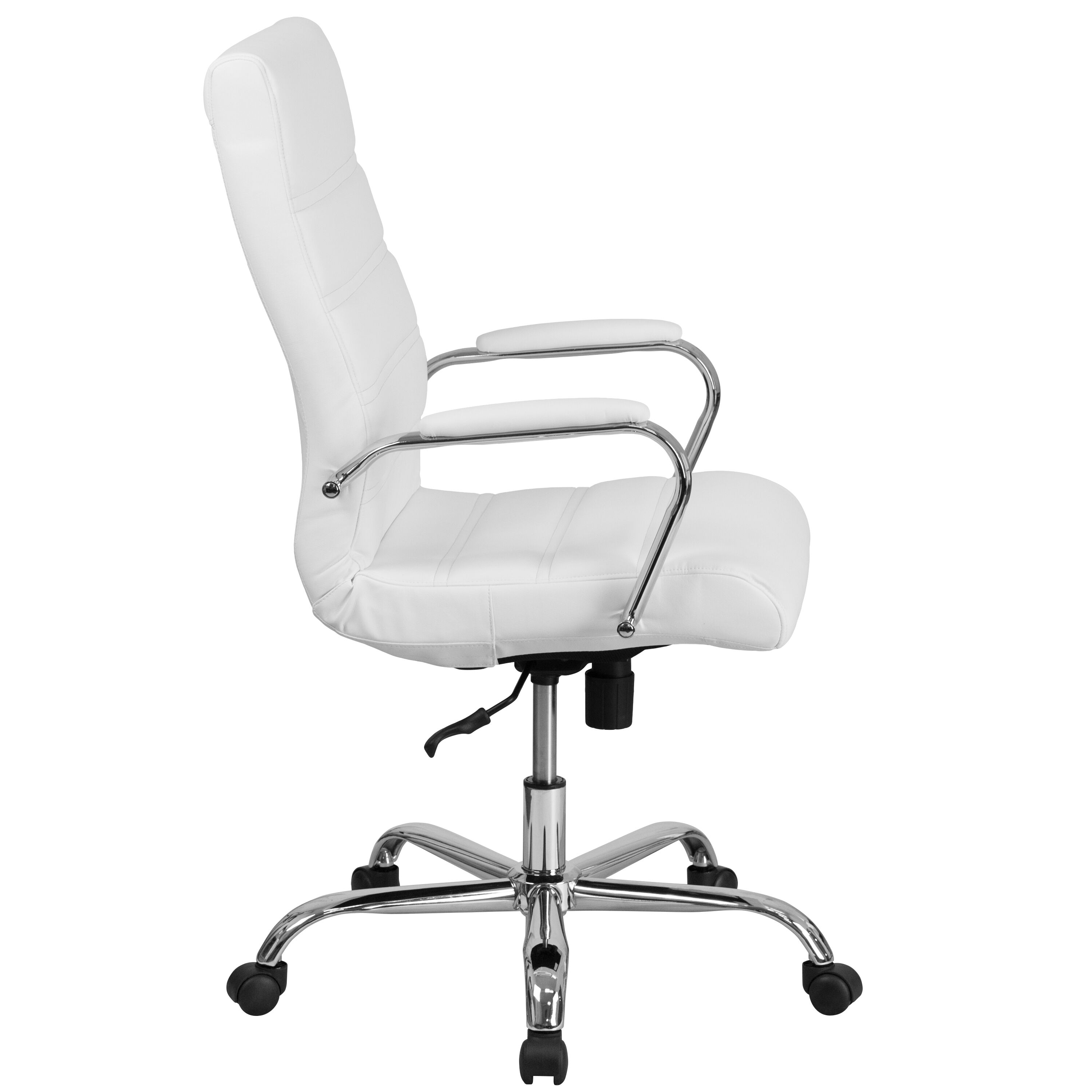 ... Our High Back White Leather Executive Swivel Chair With Chrome Base And  Arms Is On Sale ...