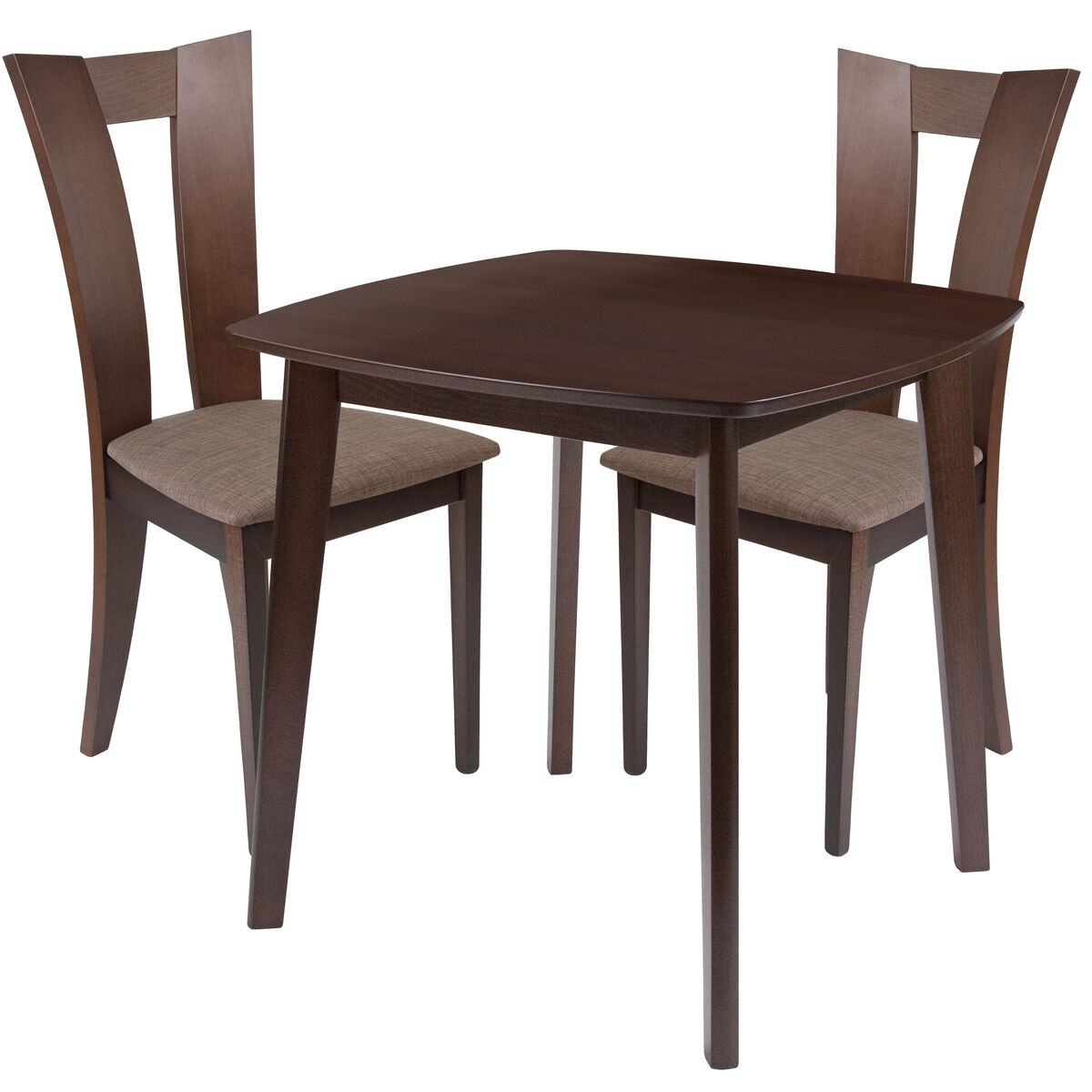 Our Exeter 3 Piece Espresso Wood Dining Table Set With Slotted Back Chairs