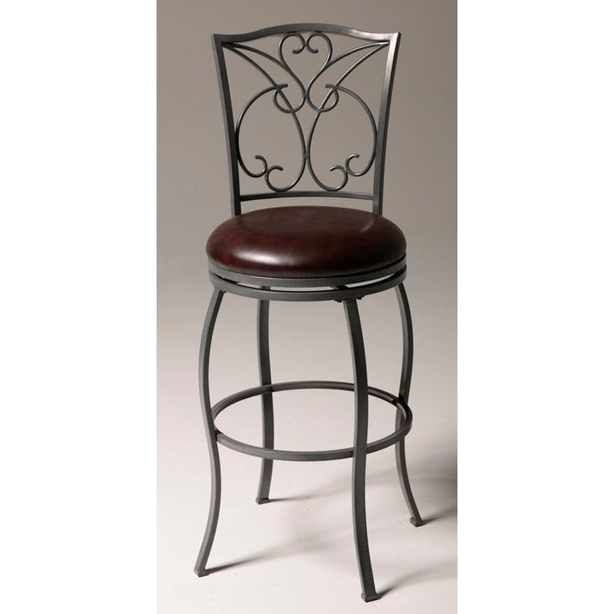 Astounding Columbia 30H Armless Swivel Bar Stool With Chocolate Faux Leather Seat Ash Grey Metal Pdpeps Interior Chair Design Pdpepsorg