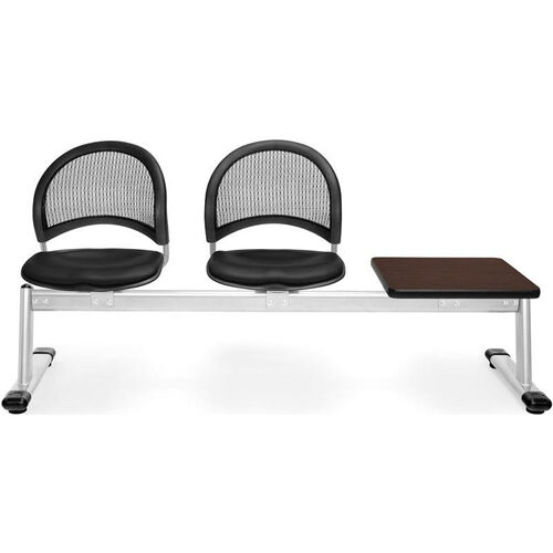 Our Moon 3-Beam Seating with 2 Black Vinyl Seats and 1 Table - Mahogany Finish is on sale now.