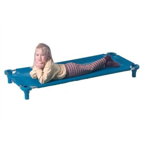 Blue Toddler Sized Cot with Steel Frame and Polypropylene Legs - Unassembled - 40