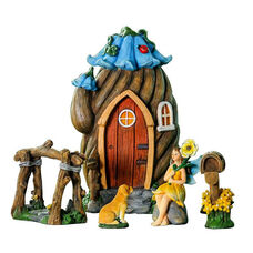 Flower House 5 Piece Miniature Fairy Garden Set