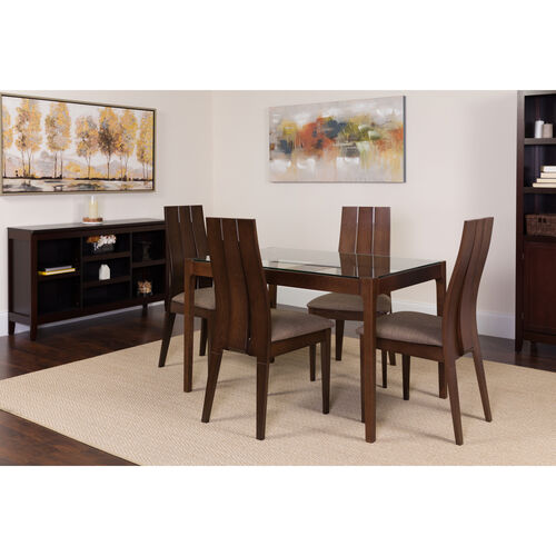 Our Albany 5 Piece Espresso Wood Dining Table Set with Glass Top and Wide Slat Back Wood Dining Chairs - Padded Seats is on sale now.