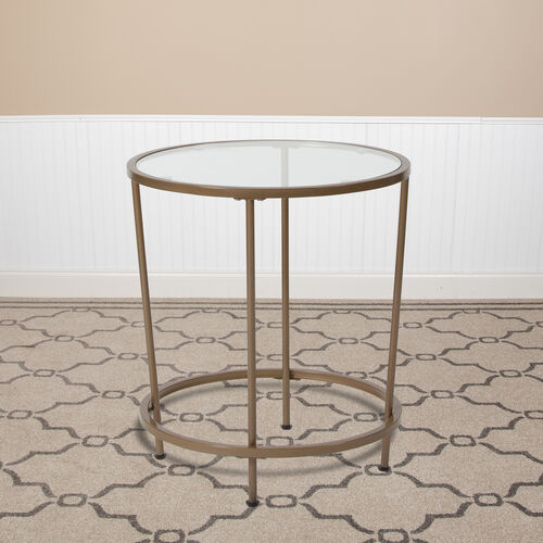 Astoria Collection Round End Table, Modern Glass Accent Table with Metal Frame
