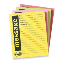 3M Post-It Telephone Message Sticky Note Pads - Pack Of 4