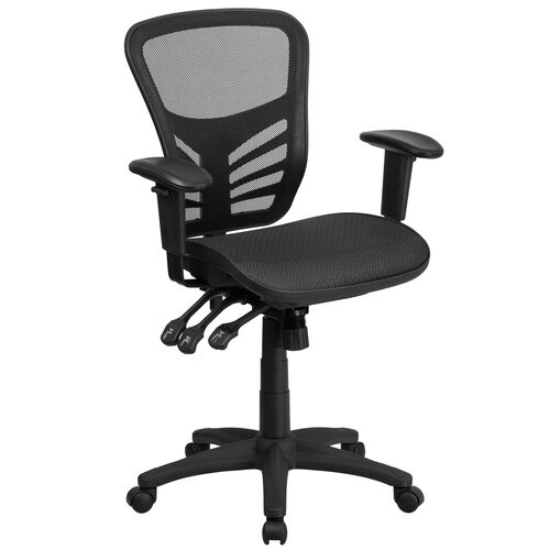 Our Mid-Back Transparent Black Mesh Multifunction Executive Swivel Ergonomic Office Chair with Adjustable Arms is on sale now.