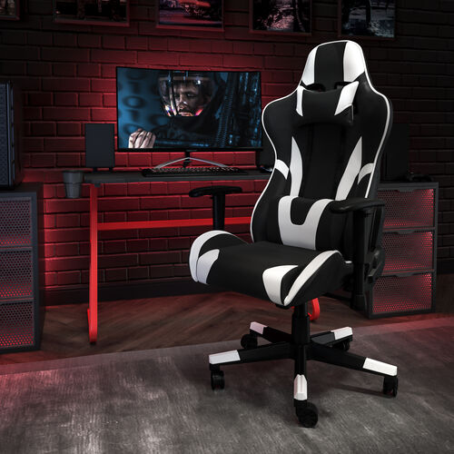 Gaming Desk and Reclining Gaming Chair Set with Cup Holder and Headphone Hook